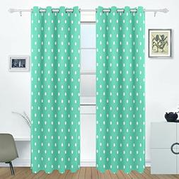 AIDEESS Green Polka Dot Curtain Panels Insulated Curtains Bl