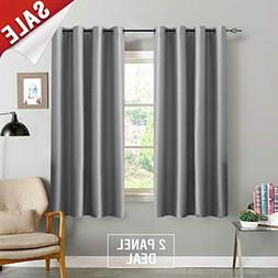 jinchan Grey Blackout Curtains for Bedroom Thermal Insulated