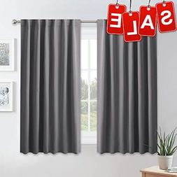 PONY DANCE Blackout Window Curtains - Gray Double Panels Bac