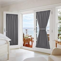 NICETOWN Grey Blackout French Door Curtains - Blackout Patio