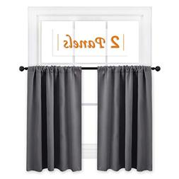 RYB HOME Short Curtains Gray Half Window Curtains for Bedroo