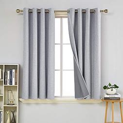 Deconovo 100% Blackout Curtains with Grey Coating Thermal In