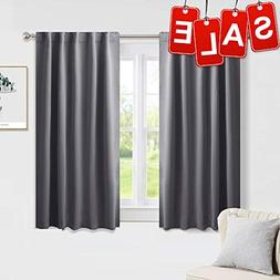 PONY DANCE Blackout Window Curtains - Short Gray Thermal Ins