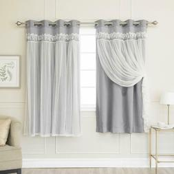 Best Home Fashion Grey Elis Lace Overlay Blackout Curtain Pa