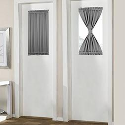 PANOVOUS Grey French Door Curtains for Small Windows Elegant