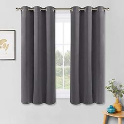 PONY DANCE Grey Blackout Curtains - Thermal Insulated Gromme