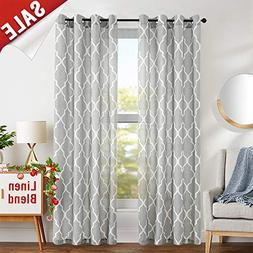 jinchan Grey Moroccan Tile Print Curtains for Bedroom Curtai