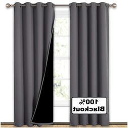 NICETOWN Grey Full Shade Curtain Panels, Pair of Energy Smar
