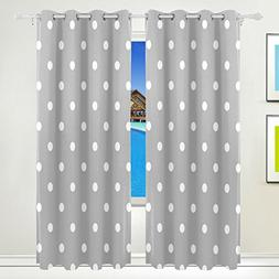 ALAZA Grey White Polka Dot Window Curtain for Living Room Be