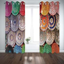Grommet Blackout Curtains Digital Printing Thermal Insulated