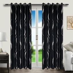 MYRU Grommet Top Black and Silver Blackout Curtains for Livi