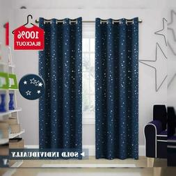 H.VERSAILTEX 100% Blackout Star Curtains for Boys Room Therm