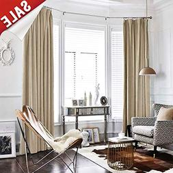 Half Blackout Velvet Curtains 95 inches Window Drapes for Be
