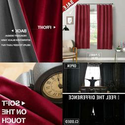 Jinchan Half Blackout Velvet Curtains Burgundy Red For Bedro