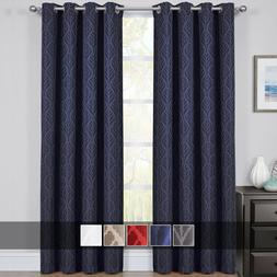 Hilton Blackout Curtains Panels Jacquard Thermal Insulated P