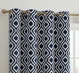 HLC.ME Ogee Print Pattern Blackout Grommet Curtain Panels 52