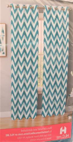 HLC.me Set of 2 - 52'' x 84'' Blackout Curtains Teal Blue Ch