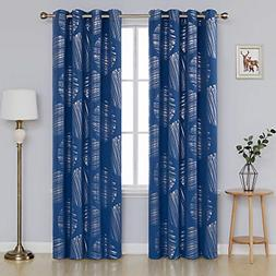 Home Decor Foil Print Blackout Curtains with Grommets Therma