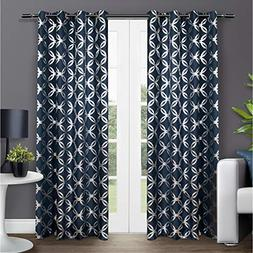 Indigo Home Modo Metallic Geometric Grommet Top Window Curta