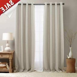 Indoor 100% Linen Solid Window Curtain Drapes Blackout Room