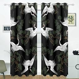 ALIREA Japanese Crane Pattern Blackout Curtains Darkening Th