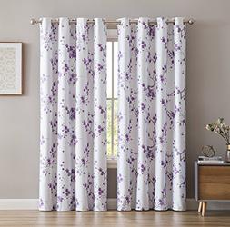 HLC.ME Jasmine Floral Faux Silk 100% Blackout Room Darkening
