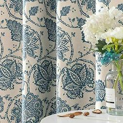 Jinchan Floral Scroll Printed Linen Textured Curtains Gromme