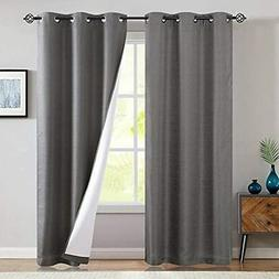Jinchan Grey Blackout Curtains Lined Thermal Drape 95 Inches