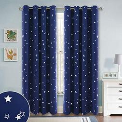 RYB HOME Kids Blackout Curtains with Silver Star Patterns, W