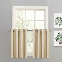 PONY DANCE Kitchen Window Tier - Blackout Curtain Solid Micr