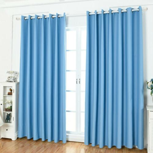 1/2/4 Panel Window Curtain Blackout Bedroom Set Drapes Solid Decor Kit