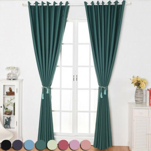 1/2/4 Panel Window Blackout Set Drapes Solid Kit