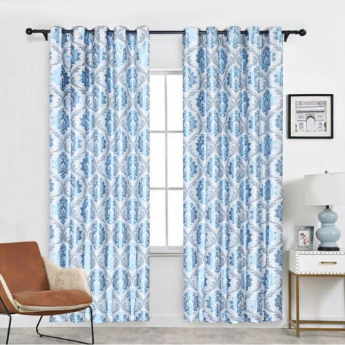 1/2/4 Panels Blackout Window Curtains Thermal Grommet
