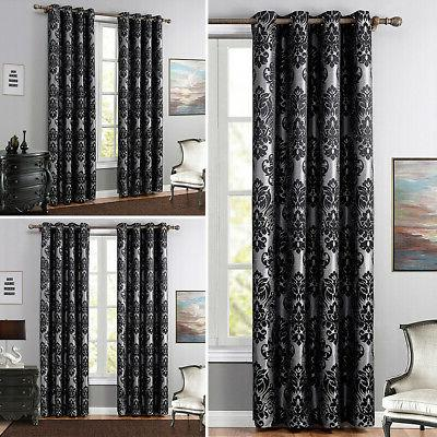 1 2pcs floral panels blackout window curtain