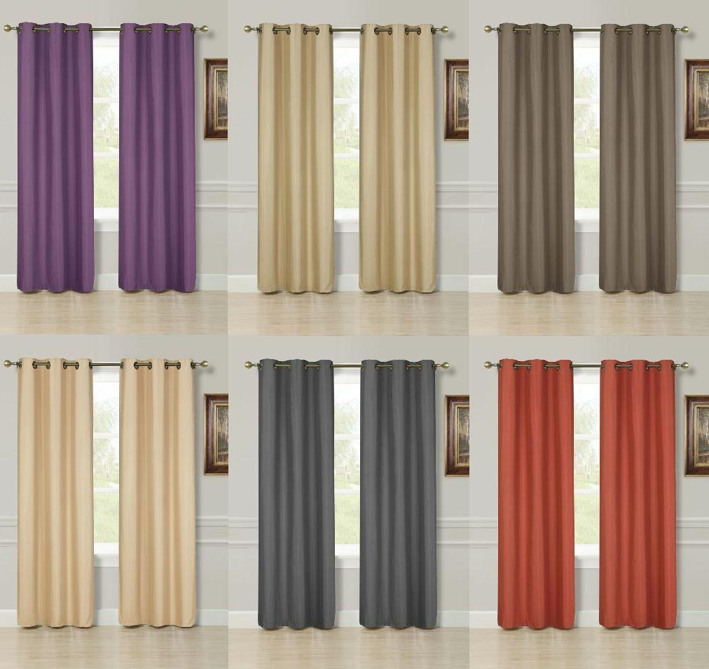 2 PANEL SOLID LINED THERMAL BLACKOUT GROMMET WINDOW CURTAIN