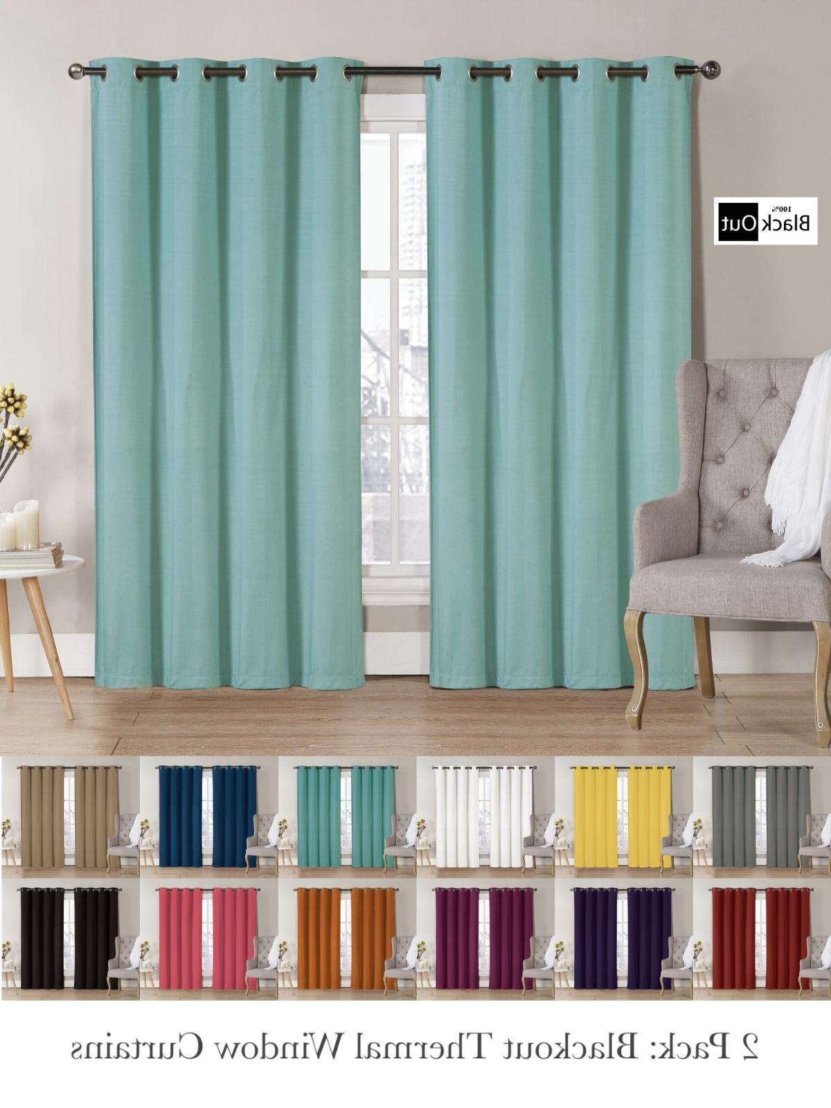 2 Pack: Hotel Thermal Grommet 100% Blackout Curtains - Assor
