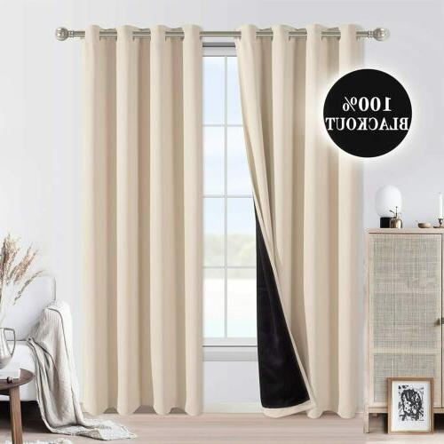 2 Thermal Insulated Blackout Curtains for