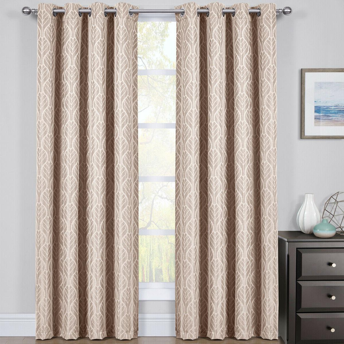 2 Panels Taupe Thermal Blackout Curtains