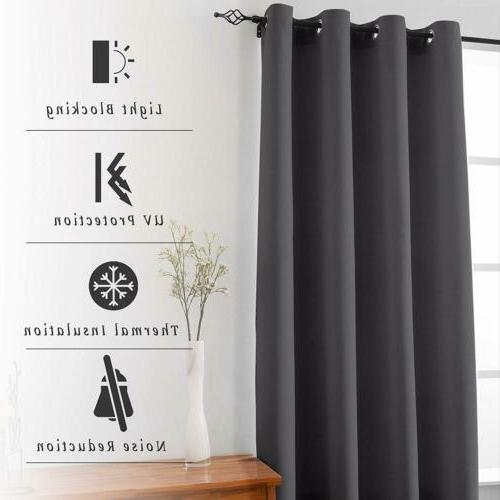 Blackout Panel Window Curtains Thermal Insulated Grommet US