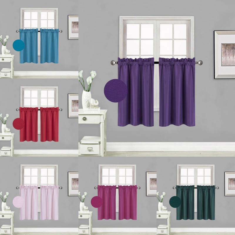 Kitchen Rod Pocket Insulated Blackout Window Tier Curtains 1