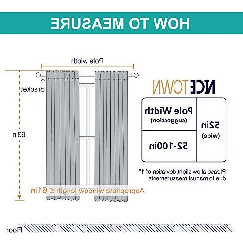 NICETOWN Blackout Window Panels W52 x L63, Double Panels, Thermal Blackout for