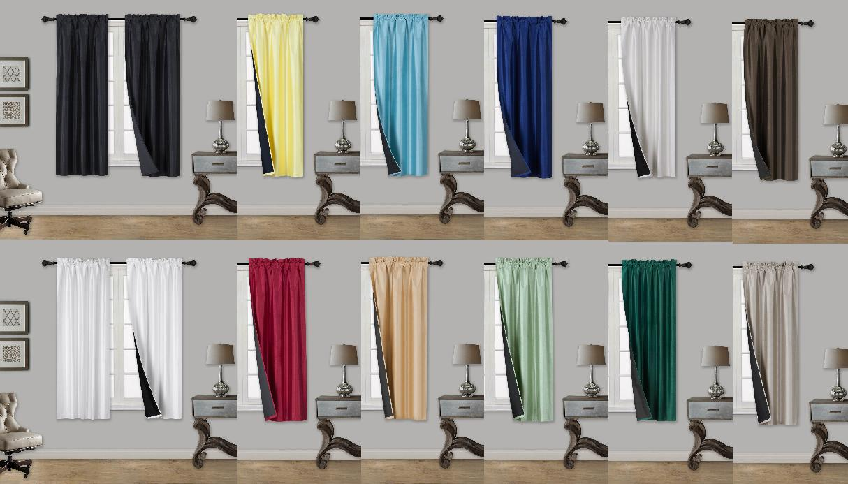 ULTIMATE 100% BLACKOUT HOTEL QUALITY WINDOW CURTAIN BLACK BA