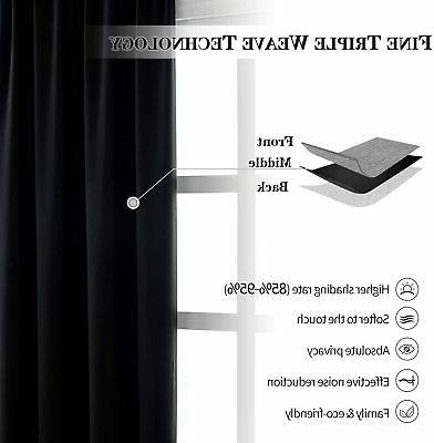 Anjee Blackout Curtain Panels 63 inches Long- Reducing Thermal B