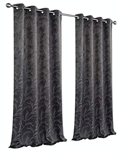 GoodGram 2 Pack Floral Chic Thermal Blackout Curtain -