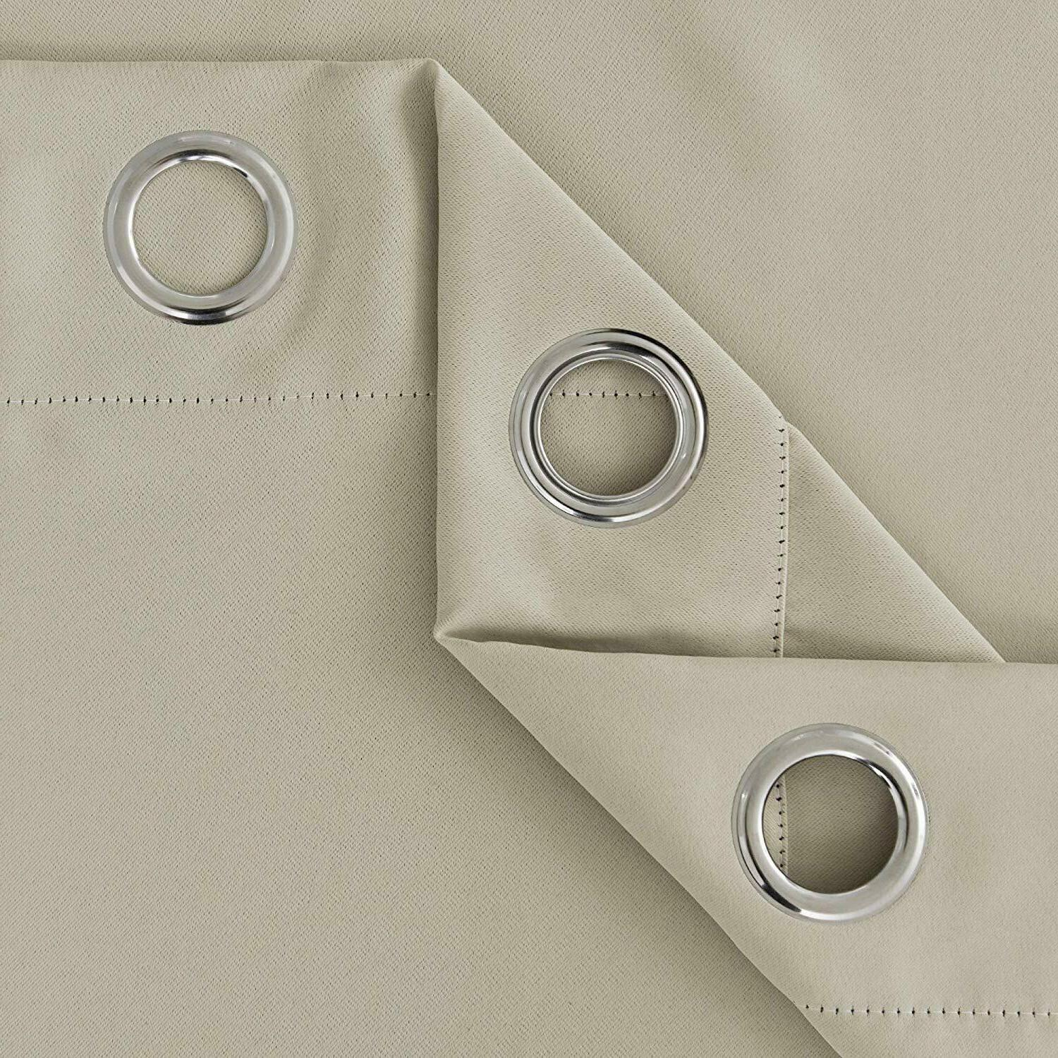 Deconovo BEIGE Blackout Curtains Thermal Rod Pocket Curtain