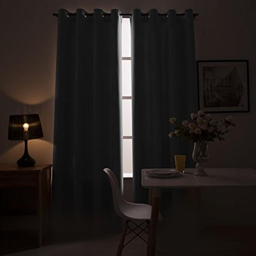 Blackout for Room 84 inches Curtains Insulated Top Drapes, Black