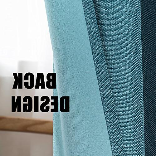 Blackout Grommet Top Thermal Insulated Heavy Textured Tiny Plaid Linen Curtains for Living Room, Teal, 52 Inch by