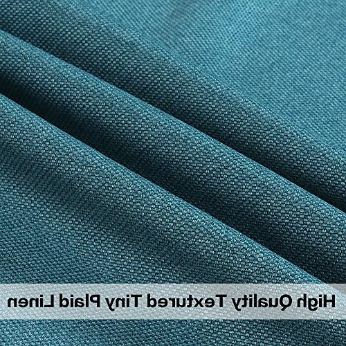 Blackout Classical Top Thermal Weight Textured Tiny Plaid Curtains Living Teal, 84 by