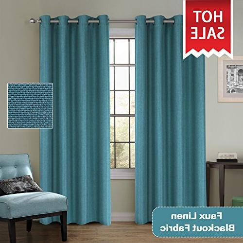Blackout Classical Thermal Insulated Heavy Textured Tiny Plaid Curtains Living Teal, 52 Inch by