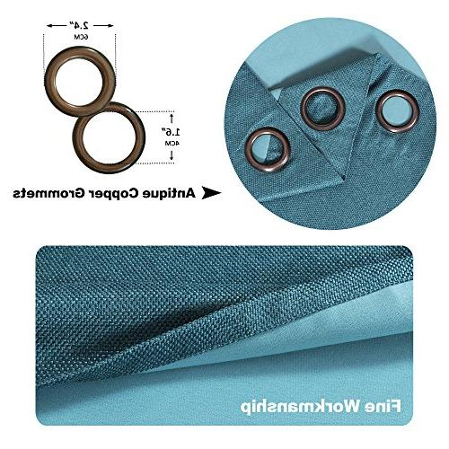 Blackout Grommet Thermal Textured Tiny Curtains for Room, Teal,